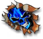Ripped Torn Metal Rusty Design With Electric Blue Flames Skull Motif External Car Sticker 105x130mm